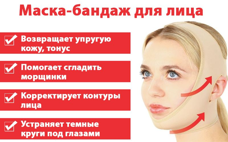 Инновационная Маска-Бандаж для омоложения и подтяжки лица свойства